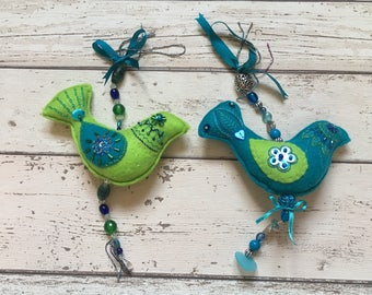 Pair of turquoise and lime green Christmas Tree Decorations