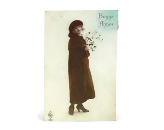 1920s French Postcard with Women in Coat. Hand Tinted Lady Photo Portrait Post Card.