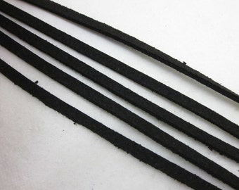 10m Faux Suede leather Micro Fiber Cord Black 3mm x 1mm Suede Cord