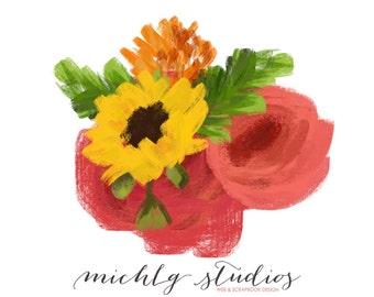 Digital floral clip art, flower bouquet, pink, flowers, clipart, hand drawn, diy, wedding, sunflower, png, floral elements, watercolor, 0009