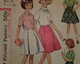 Vintage Cut Simplicity girls sz 12 (waist 35) Reversible Wrap Skirt Pattern 5431