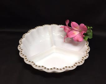 Anchor Hocking Fire King Divided Serving Dish Milk Glass with Gold Bead Trim