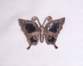 Vintage Ornate Sterling Marcasite & Black Onyx Butterfly Brooch Signed by the Artisan