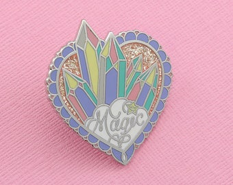 Magic Crystal Cluster Enamel Pin with Glitter // Unicorn Collection pastel lapel pin/brooch/badge // EP246
