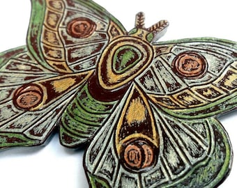 Metallic Silver, Gold and Green Moth Necklace, Butterfly Necklace, Statement Necklace, Wife Gift, Girlfriend Gift, Mom Gift