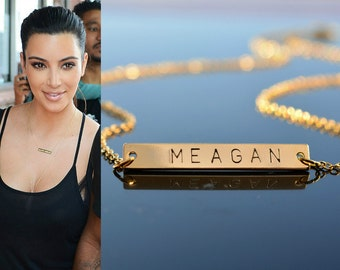 Bar name necklace, Personalized Name Plate Necklace, Necklace with a bar, gold layered necklace, Gold layering jewelry, Gift under 25 USD
