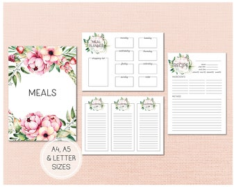 Printable Meal Planning Kit - A4 and A5 letter sized meal planning pages including shopping lists, recipe cards and a schedule