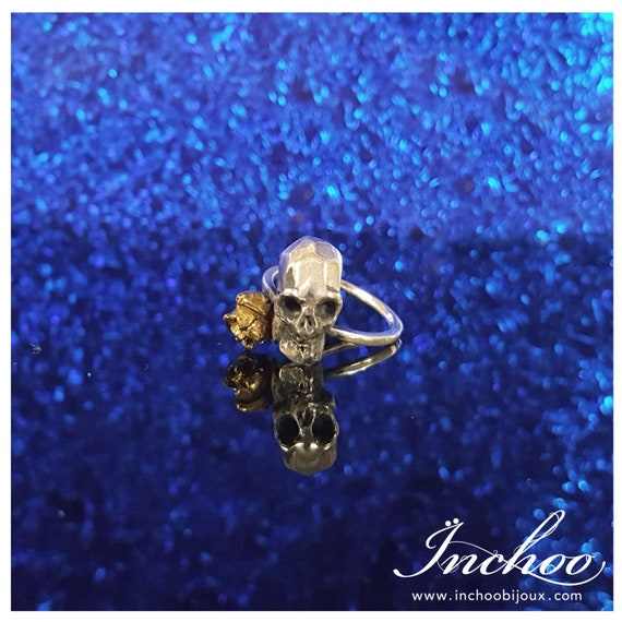 Silver Skull Ring, Bronze Rose, Flower Ring, Oddities, Taxidermy Ring, Bone Jewelry, Anatomical Ring, Gothic, Occult, Witchy Ring, Punk Ring