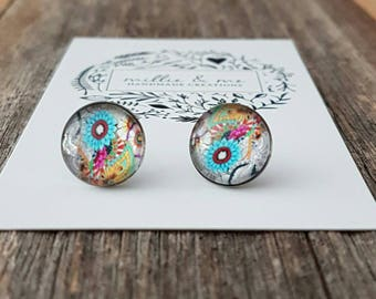 Glass earrings, Stainless steel glass cabochon stud earrings, glass dome earrings, earrings, gift for her, birthday gift, for her