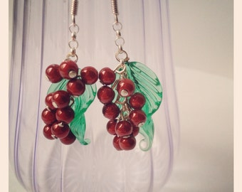 Sterling silver red cherry earrings
