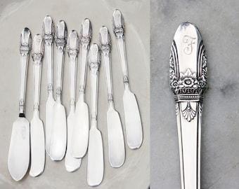 8 Vintage Silver Plate Butter Spreaders / 1937 First Love Pattern / Master Butter Knife / F Monogram