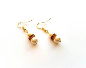 Gold Dangle Pierced Earrings with Pale Peach Glass Pearl Beads and Topaz Rhinestones Handmade