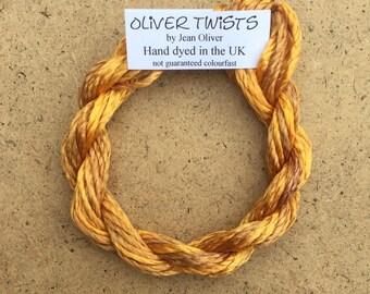 Silk Filament No.07 Yellow Ochre, Embroidery Thread, Hand Dyed Embroidery Thread, Artisan Thread, Textile Art