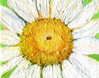 Shasta Daisy mini canvas painting Lime green original. mini easel, flower artwork, acrylic miniature paintings