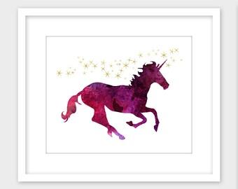 Unicorn Printable Art, Unicorn Wall Art Print, Children's Room Decor Instant Digital Download