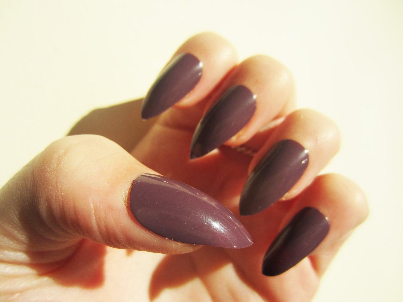 Set of 20 Dark Purple False Press on Nails, Stunning Fake Nails from ...