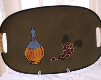 60s Oval Green Plastic Tray Wrapped Handles Wine Decanter Grapes