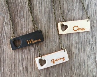 Heart personalized Necklace, stamped bar, Mothers Day 2018, Grandma, Mama, Nana, Yia Yia, Mew Maw gift