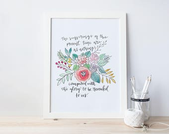 Watercolor and Hand Lettered Quote Print/ Romans 8:18/ Glory to be Revealed 8x10