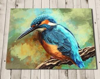 Kingfisher Print - Kingfisher Bird Art - Kingfisher Painting Print - Kingfisher Gift - Bird Lover Gift - Kingfisher Art -British Bird