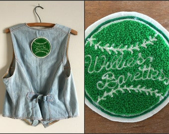 Willies Barettes Green and Cream Baseball Vintage Letterman Jacket Patch / Round Applique with Cursive Writing