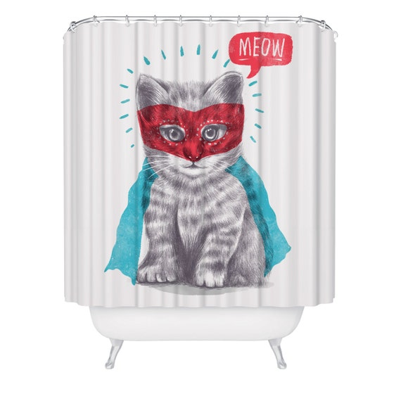 Cat Shower Curtain Funny Superhero Kitten Shower Curtain