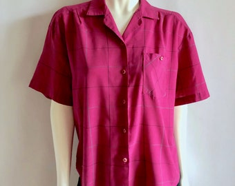 Vintage Women's 80's Magenta, Top, Short Sleeve, Blouse by Picture Perfection (XL)