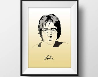 John Lennon with name - Graphic Illustration A4 - Art Print
