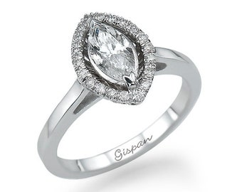 Marquise 14k White Gold Engagement Ring, Marquise Cut Diamond Ring, Marquise Engagement Ring Diamond,