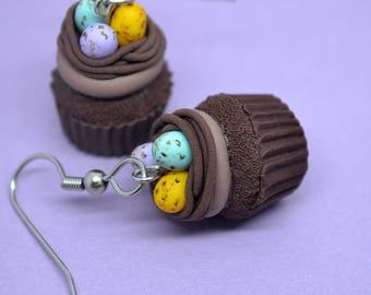 Easter eggs nest cupcake earrings,Easter cupcake earrings,Easter egg net earrings,Easter earrings,Miniature food earrings,Easter jewelry