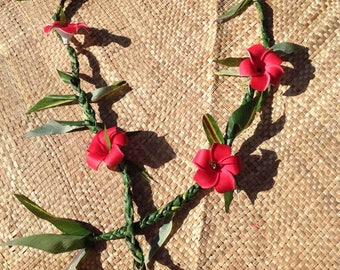 Silk Green/Ti Leaf Lei. Perfect for Wedding, Luau, Beach Wedding, Fathers Day, Mothers Day.