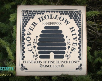 Bee Keeper Gift, Bee Hive Decor, Farmhouse Decor, Honey Bee Sign, Primitive Signs