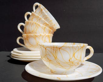 Hazel Atlas Golden Drizzle Cups and Saucers, Vintage 50s Tea Cups, Butterscotch Milk Glass Coffee Mugs, Yellow Spaghetti String