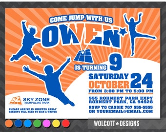 Trampoline party invitation , bounce house invitation , Trampoline Park Invitation , sky zone , trampoline, trampoline birthday invitation