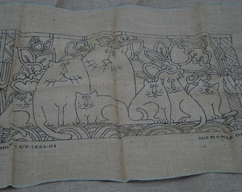 Hooked Rug stamped backing: Cat Family stamped on burlap