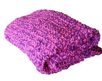 Colorful crochet Afghan Blanket, pink and purple blanket, crochet blanket, crochet Afghan, birthday gift, crochet plush throw, plush blanket