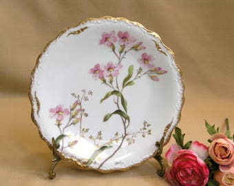 French Limoges Gold Gilt Collector Plate / LDBC Flambeau / Artist Signed / Hand Painted Floral Plate / Gold Gilt Trim / Circa 1895