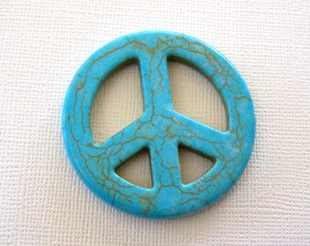 Peace Sign Pendant Turquoise Blue Howlite Stone Bead
