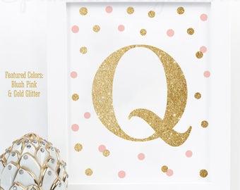 Pink & Gold Nursery Decor, Printable Baby Girl Nursery Letter Q, Kids Wall Art, Nursery Name Monogram Initial Sign, Blush Pink Gold Glitter