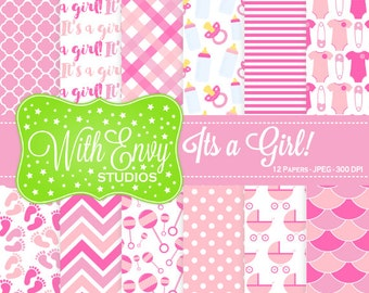 SALE  New Baby Digital Scrapbook Paper Pack - Baby Girl Scrapbook Paper Set - It's a Girl - Pink Baby Girl Paper - Commercial Use