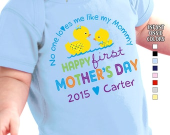 Happy First Mother's Day - No One Loves me Like my Mommy - Bodysuit - Boys - Personalized with Name and Year