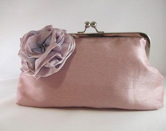 Pink Clutch Purse-Purse-Handbag-Rose-Kisslock-8 inch