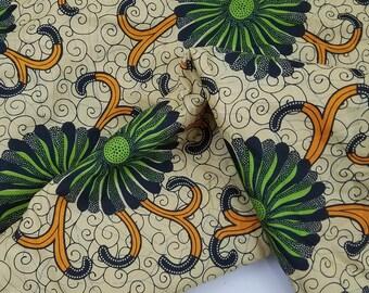 Tissu africain 4 verges pagne Wax imprimé Batik, abstrait fleurs, Mod de motif Floral, coton, pagne africain