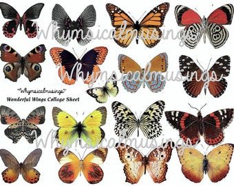 Digital Collage Sheet~ Wonderful Butterfly Wings~ ATC~ Fairy~ Instant Download
