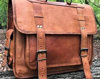 Hand Made Leather Satchel Briefcase Laptop Portfolio Messenger Bag Real Tan Leather Portfolio Attache