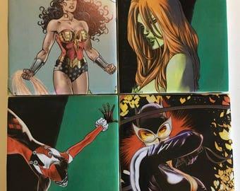 Women of DC Comics Coasters Set (Catwoman, Harley Quinn, Poison Ivy, Wonder Woman)