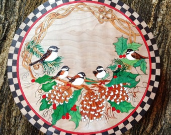 """Lazy Susan, """"5 Chick-A-Dees"""", Wood Burned & Hand Painted"""