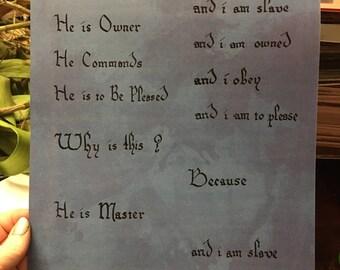 Slave's prayer