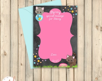 Kitten Time Capsule Sign, Kitty Cat Kitten Printable Message Card, Well Wishes Card, Notecard, Purr-Fect Pawty Birthday Party Decor, Digital