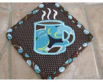 Mug Rug, Coffee Mug Rug, Coffee Coaster, Mother's Day Gift, Coffee Lover's Gift, Quilted Mug Rug, Ready to Ship
